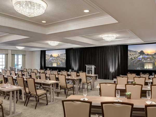 Platinum Ballroom set up classroom style for an event